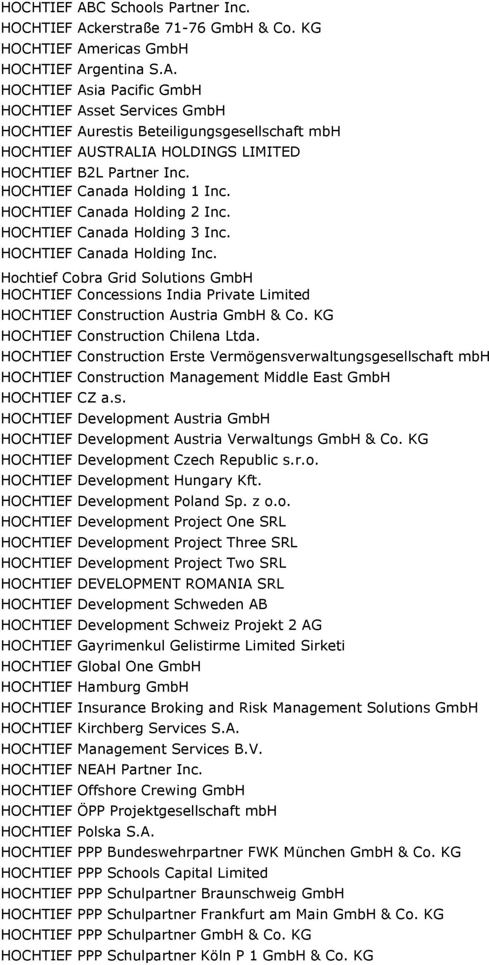 Hochtief Cobra Grid Solutions GmbH HOCHTIEF Concessions India Private Limited HOCHTIEF Construction Austria GmbH & Co. KG HOCHTIEF Construction Chilena Ltda.
