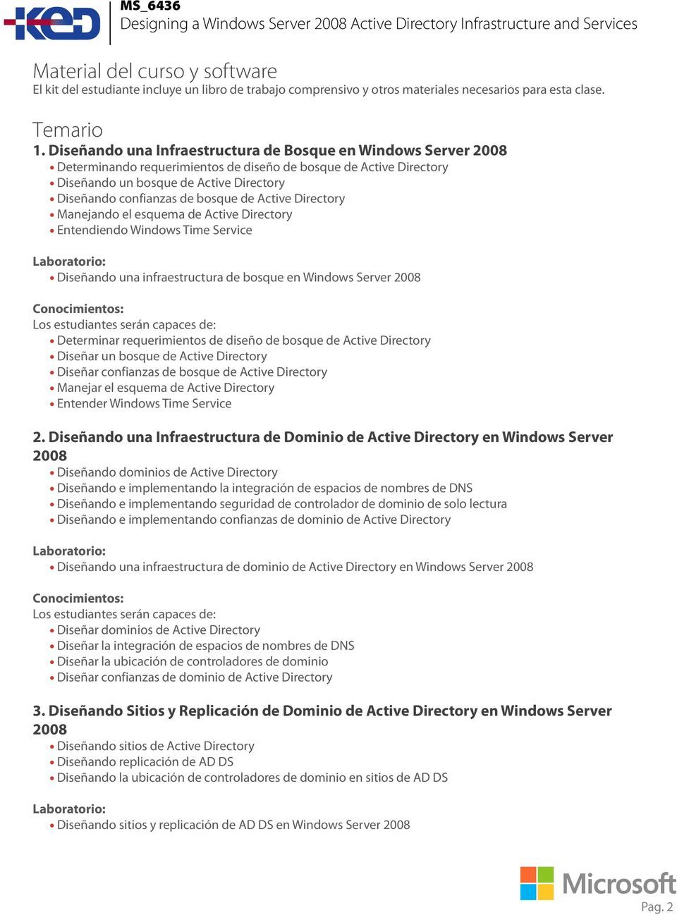 bosque de Active Directory Manejando el esquema de Active Directory Entendiendo Windows Time Service Diseñando una infraestructura de bosque en Windows Server 2008 Determinar requerimientos de diseño