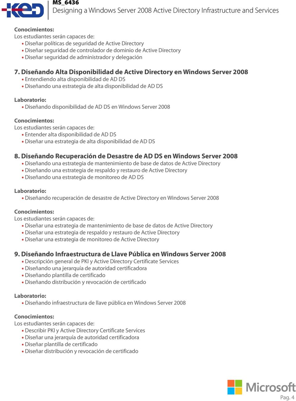 AD DS en Windows Server 2008 Entender alta disponibilidad de AD DS Diseñar una estrategia de alta disponibilidad de AD DS 8.