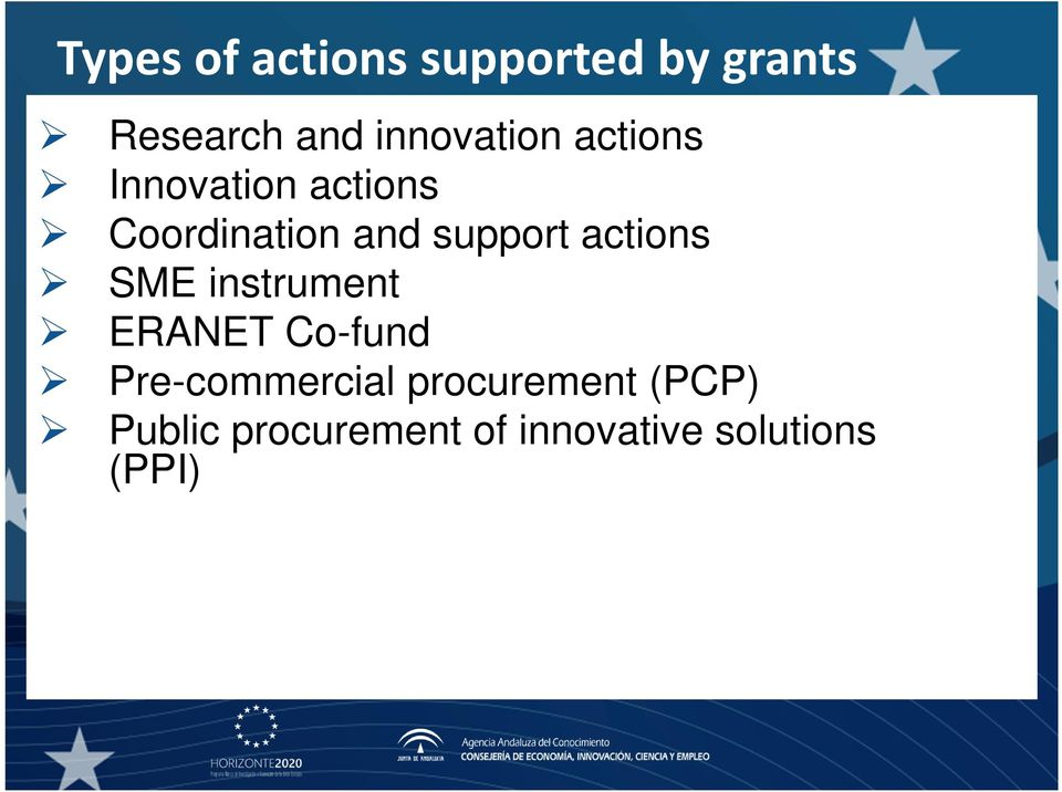 support actions SME instrument ERANET Co-fund