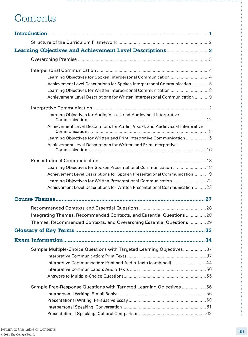 ..8 Achievement Level Descriptions for Written Interpersonal Communication...9 Interpretive Communication... 12 Learning Objectives for Audio, Visual, and Audiovisual Interpretive Communication.