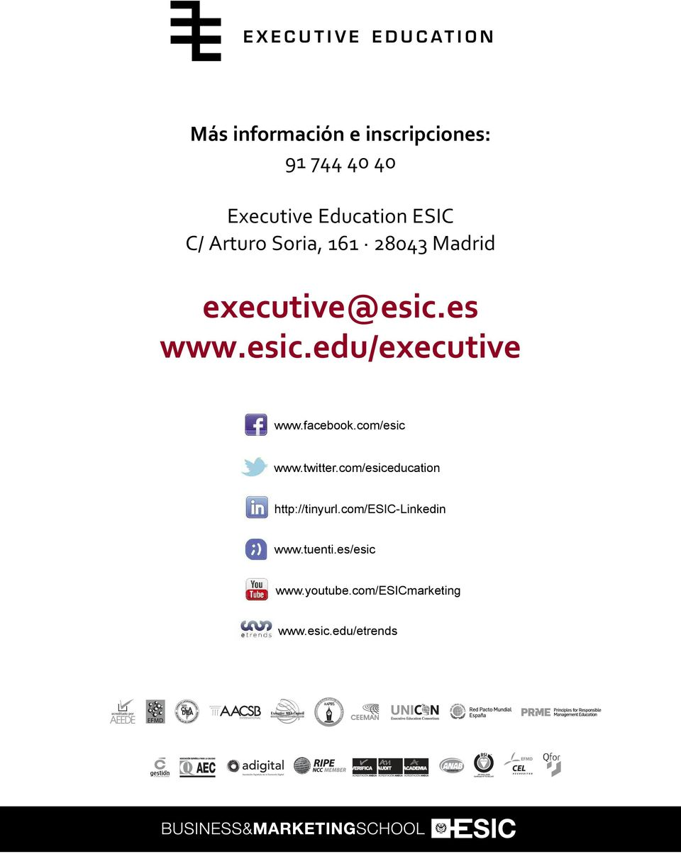 esic.edu/executive www.facebook.com/esic www.twitter.
