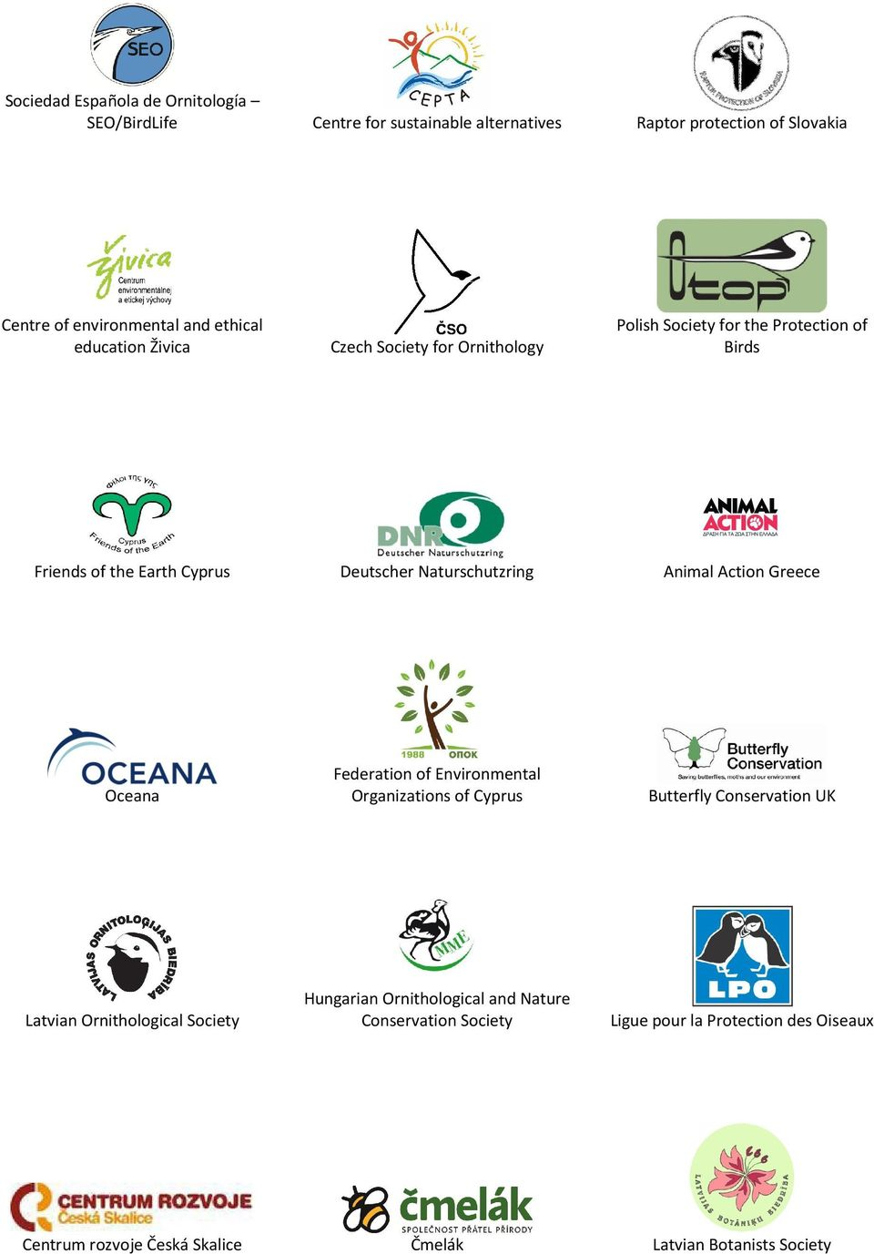 Naturschutzring Animal Action Greece Oceana Federation of Environmental Organizations of Cyprus Butterfly Conservation UK Latvian Ornithological