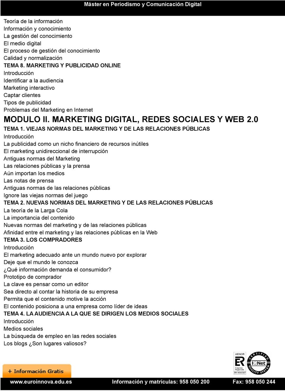 MARKETING DIGITAL, REDES SOCIALES Y WEB 2.0 TEMA 1.