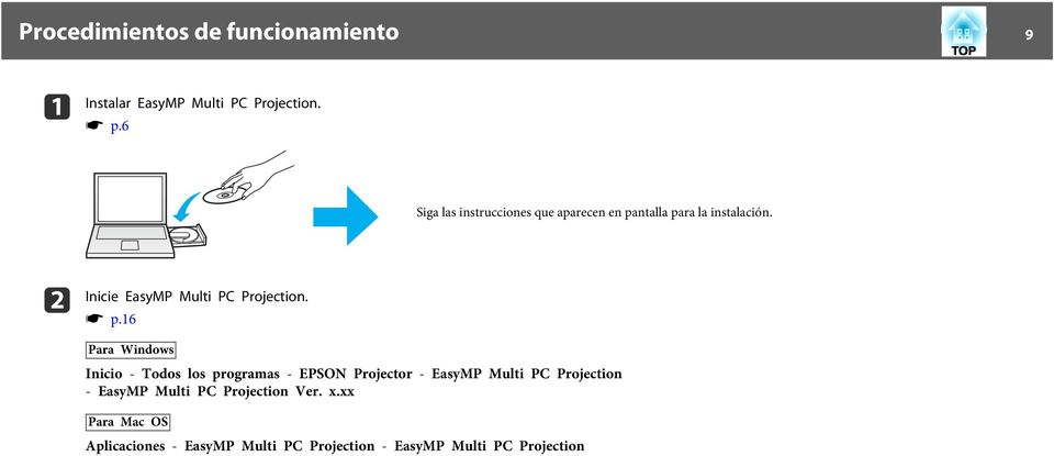 b Inicie EsyMP Multi PC Projection. s p.