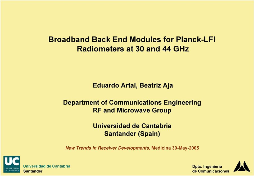 Communications Engineering RF and Microwave Group