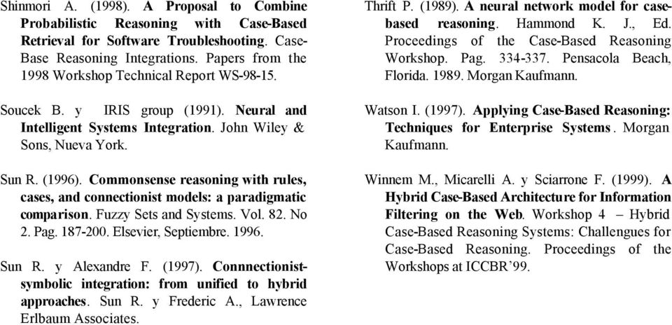 Commonsense reasoning with rules, cases, and connectionist models: a paradigmatic comparison. Fuzzy Sets and Systems. Vol. 82. No 2. Pag. 187-200. Elsevier, Septiembre. 1996. Sun R. y Alexandre F.