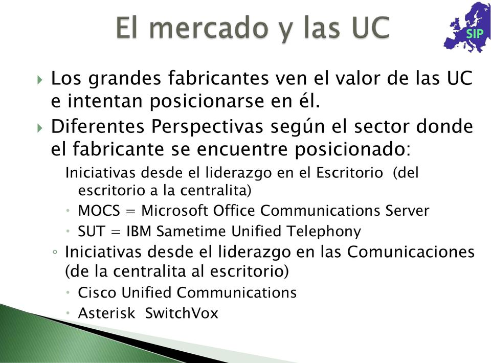 liderazgo en el Escritorio (del escritorio a la centralita) MOCS = Microsoft Office Communications Server SUT = IBM