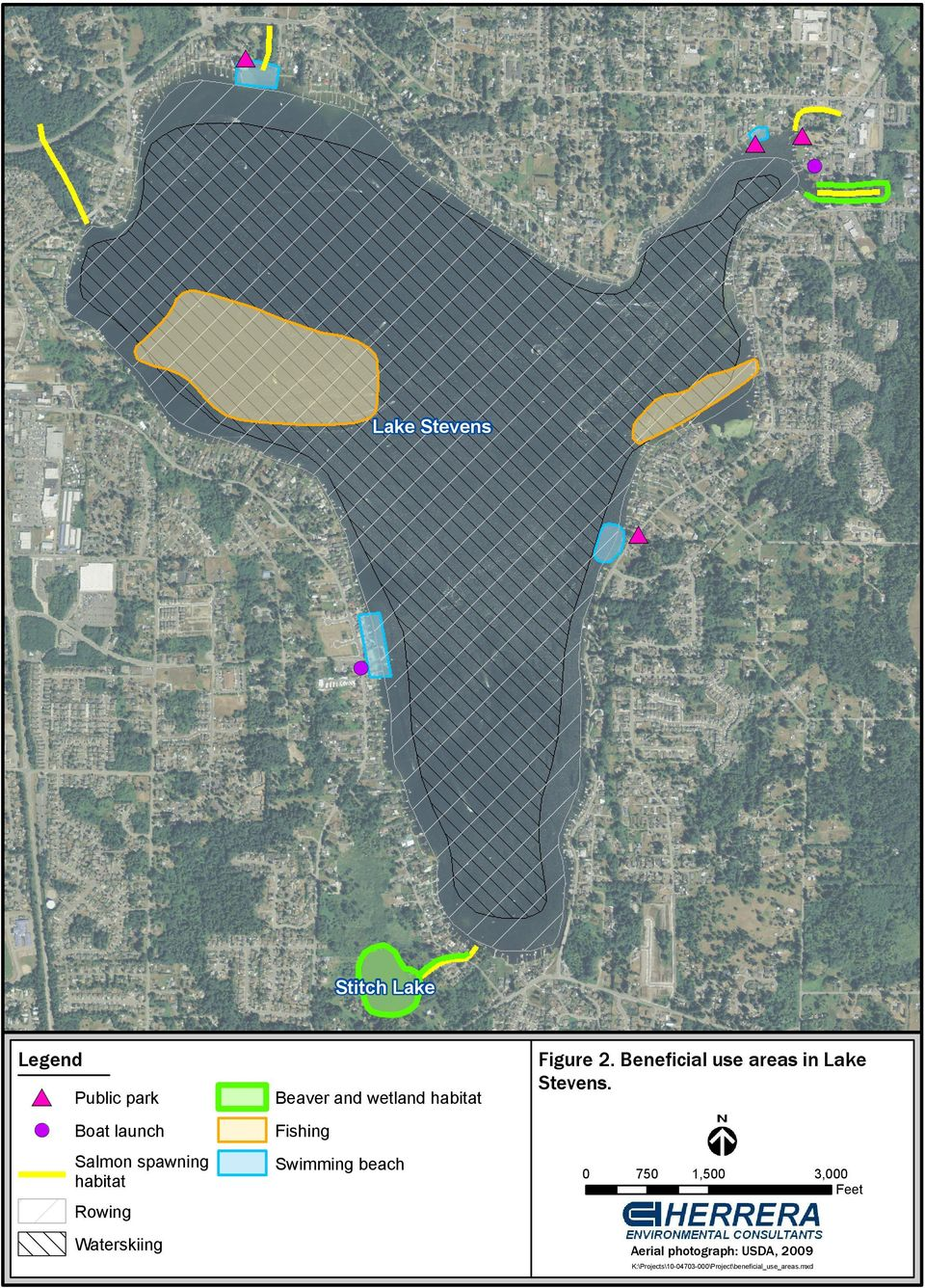 Swimming beach Figure 2. Beneficial use areas in Lake Stevens.