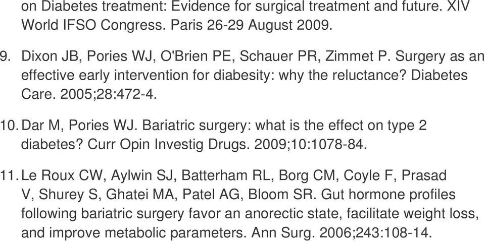 Dar M, Pories WJ. Bariatric surgery: what is the effect on type 2 diabetes? Curr Opin Investig Drugs. 2009;10:1078-84. 11.