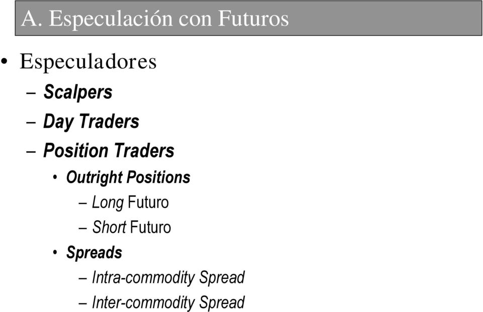 Outright Positions Long Futuro Short Futuro