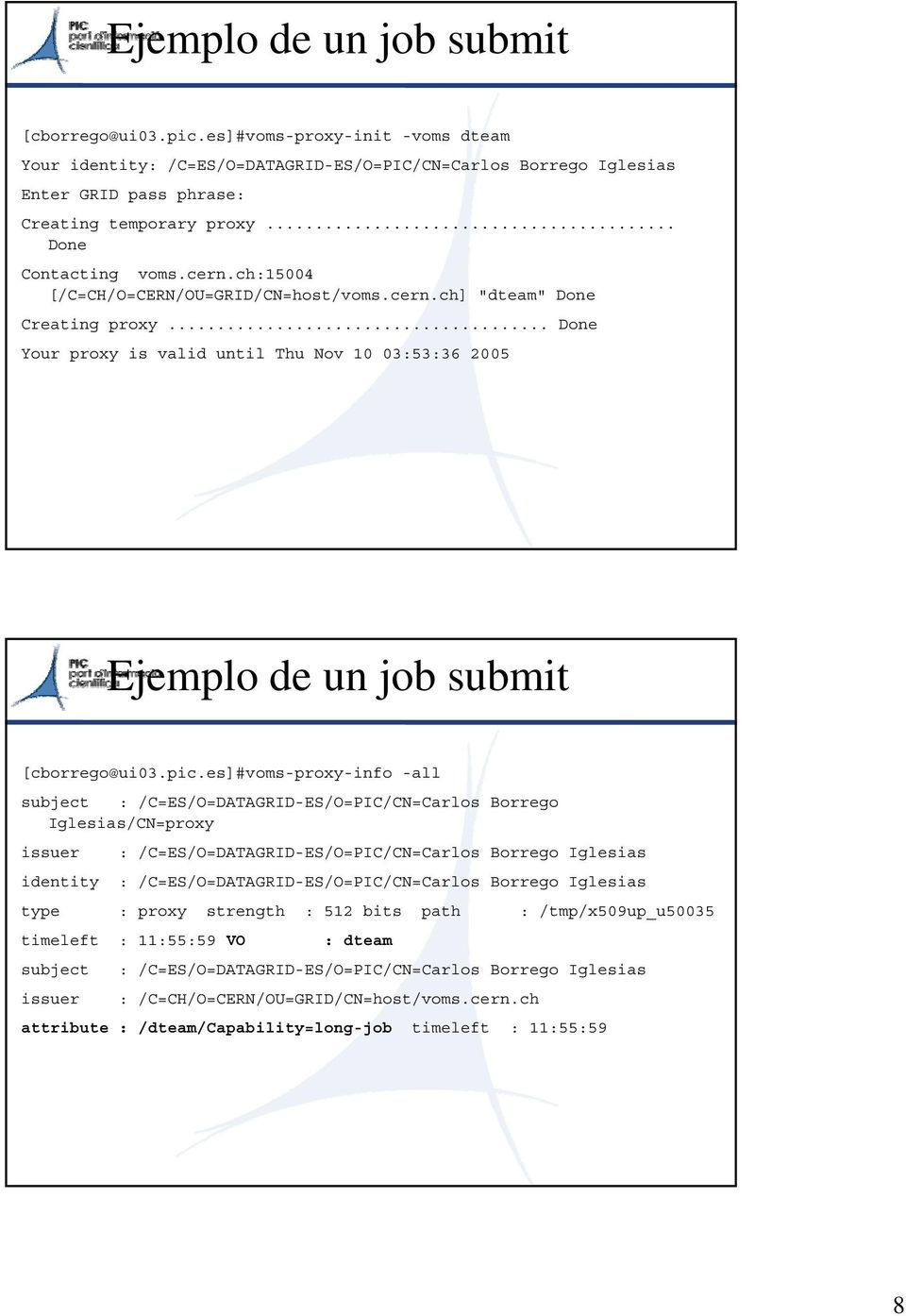 .. Done Your proxy is valid until Thu Nov 10 03:53:36 2005 Ejemplo de un job submit [cborrego@ui03.pic.