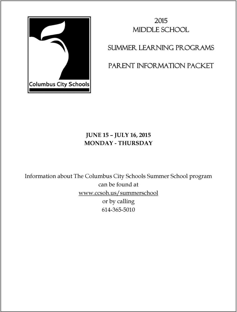 Information about The Columbus City Schools Summer School