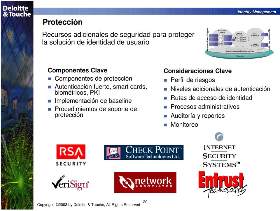 nt Applications and Users Protection Componentes Clave Componentes de protección Autenticación fuerte, smart cards, biométricos, PKI Implementación de baseline Procedimientos de
