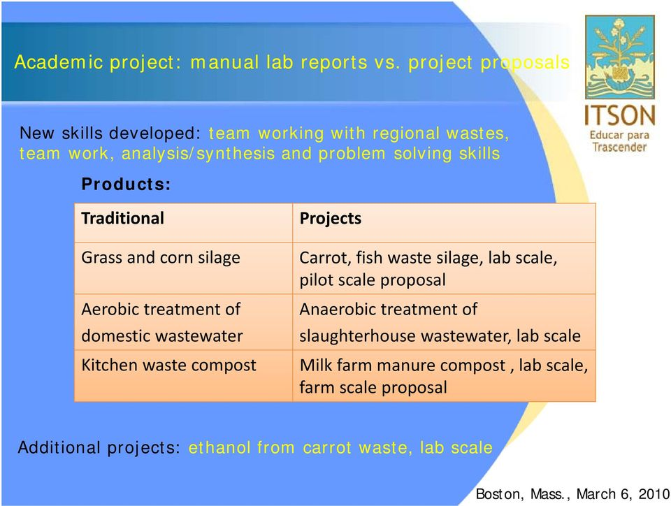 skills Products: Traditional Projects Grass and corn silage Aerobic treatment of domestic wastewater Carrot, fish waste silage,