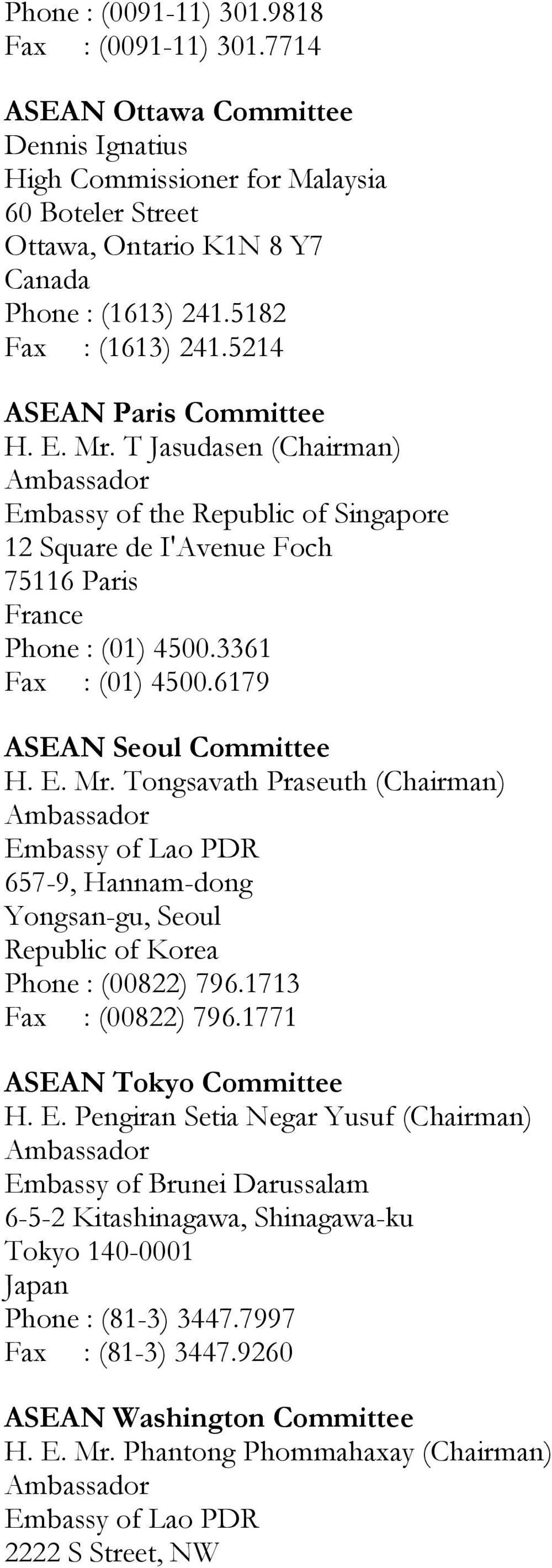 3361 Fax : (01) 4500.6179 ASEAN Seoul Committee H. E. Mr. Tongsavath Praseuth (Chairman) Embassy of Lao PDR 657-9, Hannam-dong Yongsan-gu, Seoul Republic of Korea Phone : (00822) 796.