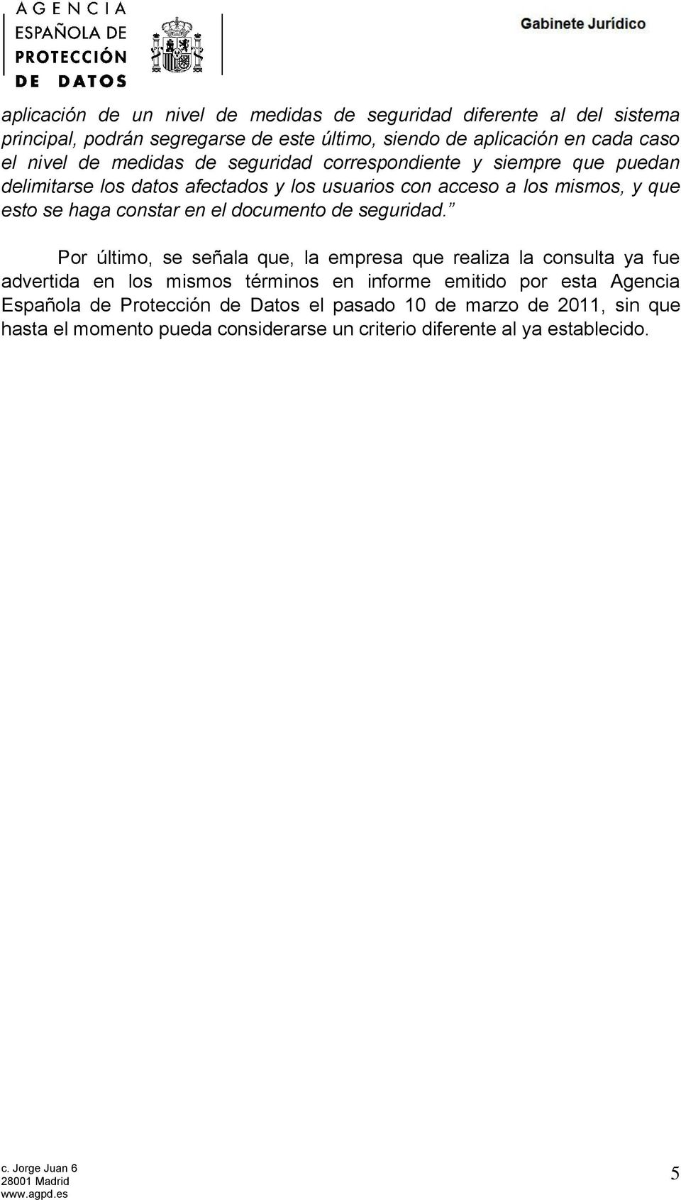 en el documento de seguridad.