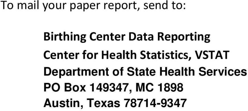 Statistics, VSTAT Department of State Health