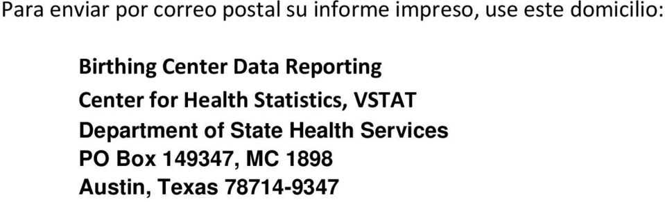 for Health Statistics, VSTAT Department of State