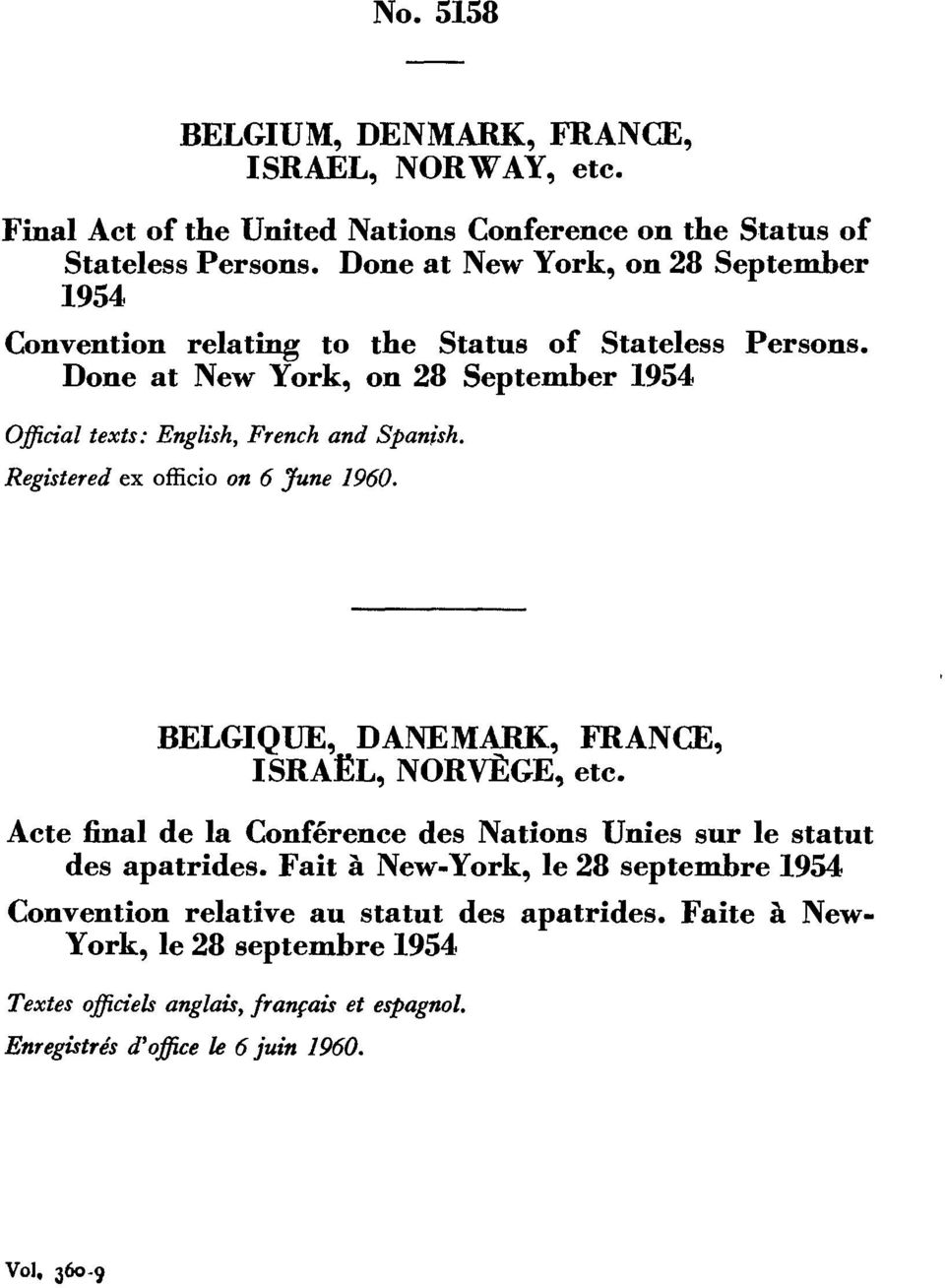 Done at New York, on 28 September 1954 Official texts: English, French and Spanish. Registered ex officio on 6 June 1960. BELGIQUE, DANEMARK, FRANCE, ISRA L, NORVEGE, etc.