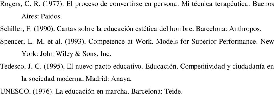 Competence at Work. Models for Superior Performance. New York: John Wiley & Sons, Inc. Tedesco, J. C. (1995).