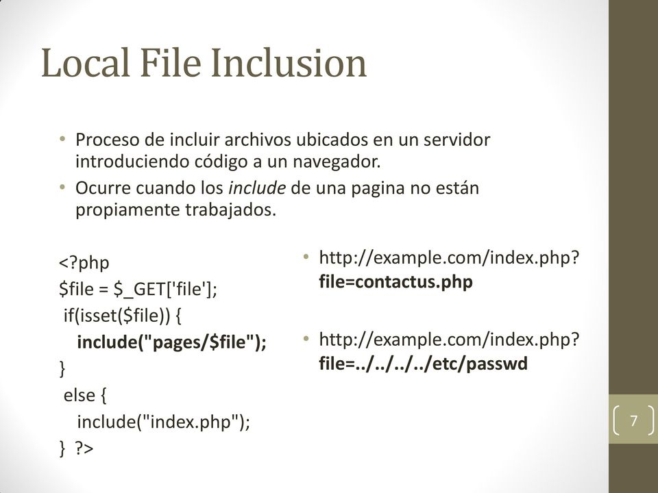 "php $file = $_GET['file']; if(isset($file)) { include(""pages/$file""); } else { include(""index."