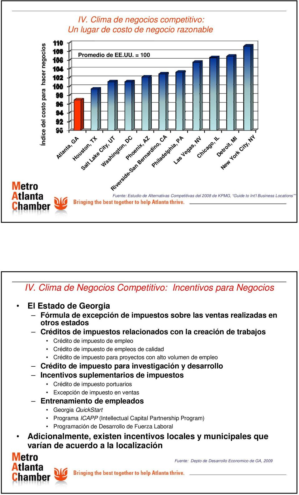 Alternativas Competitivas del 2008 de KPMG, Guide to Int l Business Locations IV.