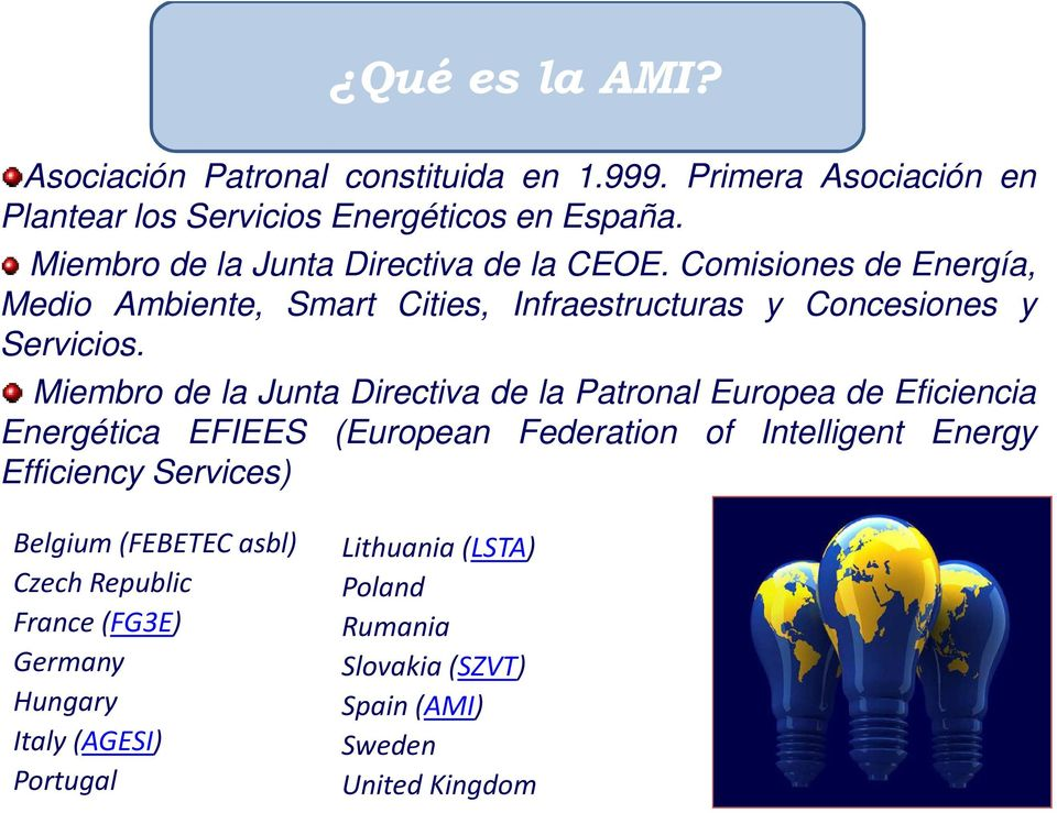Miembro de la Junta Directiva de la Patronal Europea de Eficiencia Energética EFIEES (European Federation of Intelligent Energy Efficiency