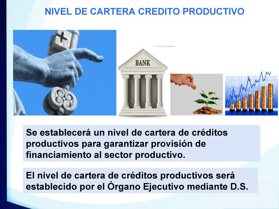 financiamiento al sector productivo.