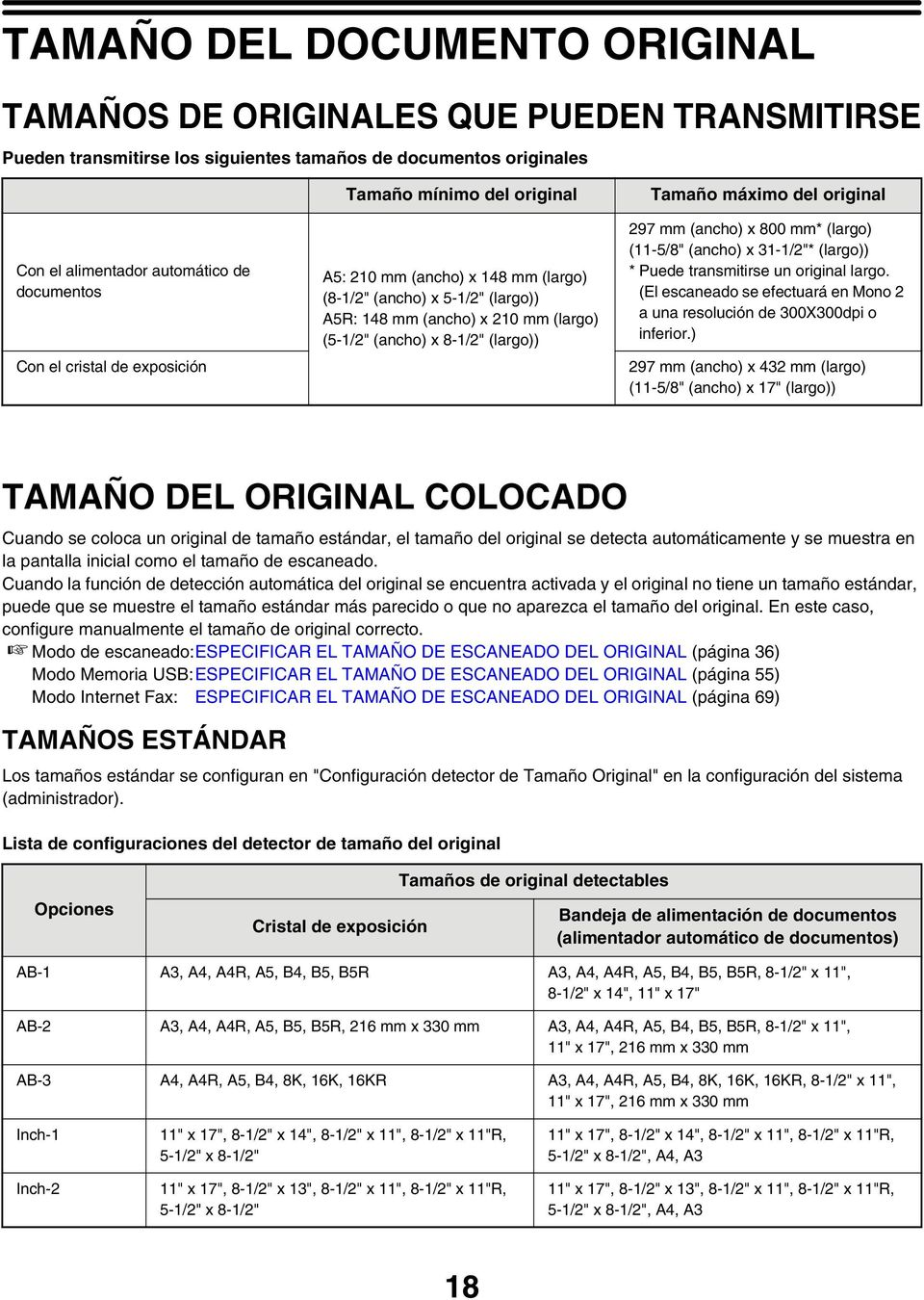 "original 297 mm (ancho) x 800 mm* (largo) (-5/8"" (ancho) x 3-/2""* (largo)) * Puede transmitirse un original largo. (El escaneado se efectuará en Mono 2 a una resolución de 300X300dpi o inferior."