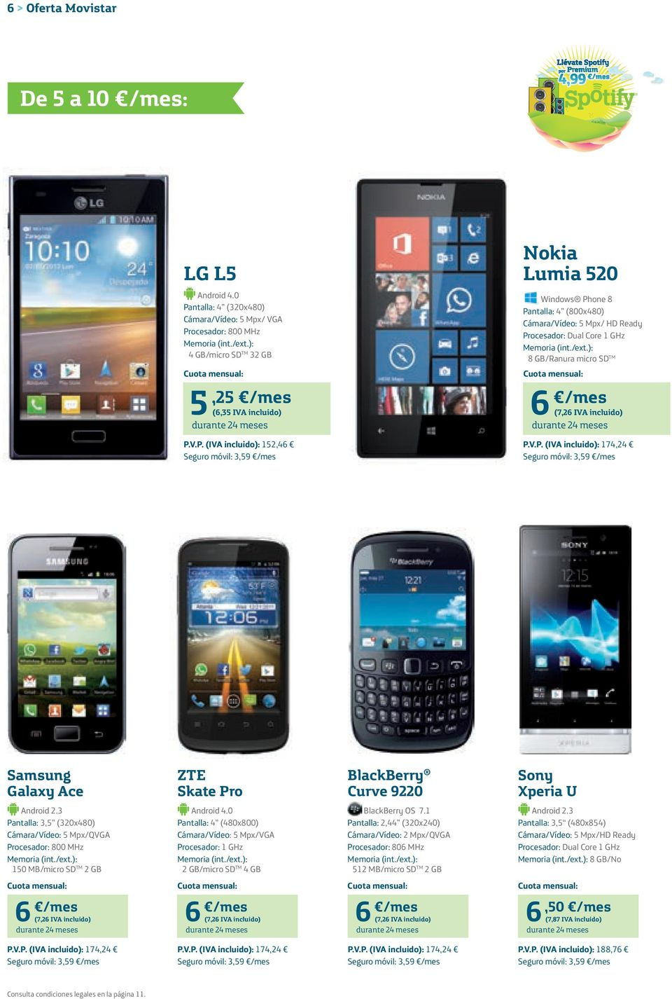 /mes (6,35 IVA incluido) 6 /mes (7,26 IVA incluido) P.V.P. (IVA incluido): 152,46 P.V.P. (IVA incluido): 174,24 Galaxy Ace ZTE Skate Pro BlackBerry Curve 9220 Sony Xperia U Android 2.