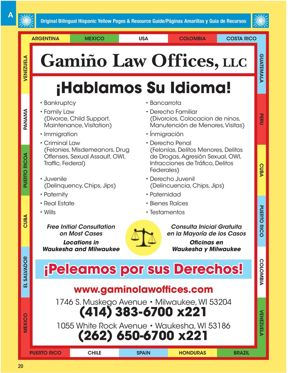 Chips, Jips) Paternity Real Estate Wills Free Initial Consultation on Most Cases Locations in Waukesha and Milwaukee Bancarrota Derecho Familiar (Divorcios, Colocacion de ninos, Manutención de