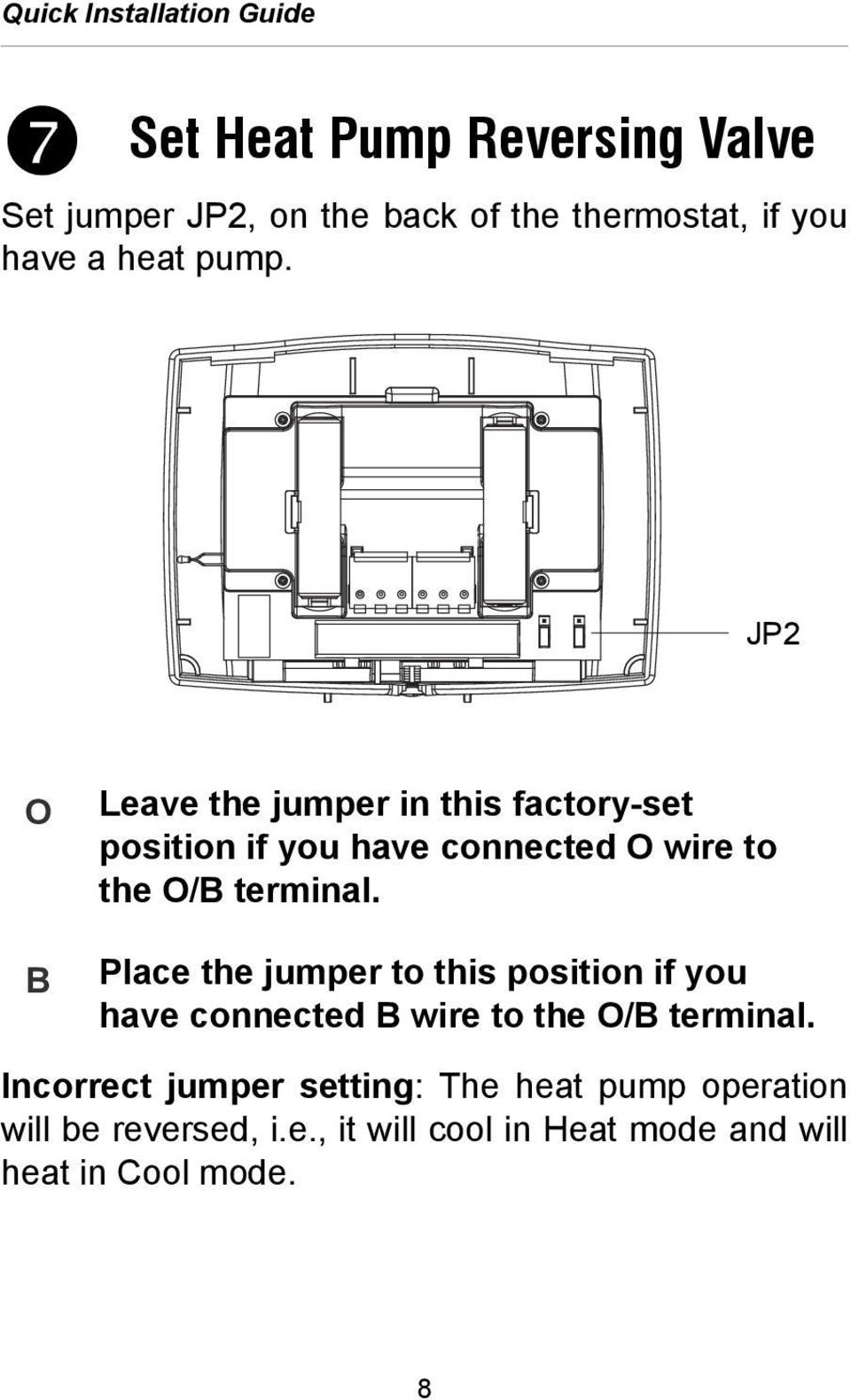 JP2 O B Leave the jumper in this factory-set position if you have connected O wire to the O/B terminal.