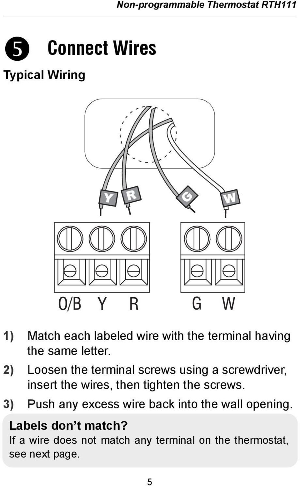 2) Loosen the terminal screws using a screwdriver, insert the wires, then tighten the screws.