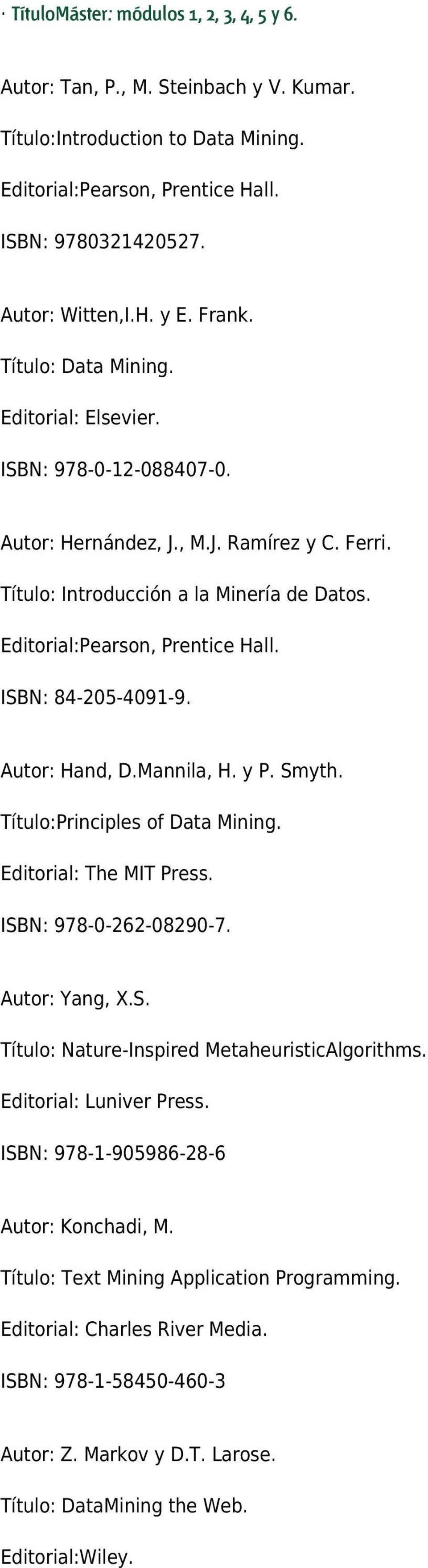 ISBN: 84-205-4091-9. Autor: Hand, D.Mannila, H. y P. Smyth. Título:Principles of Data Mining. Editorial: The MIT Press. ISBN: 978-0-262-08290-7. Autor: Yang, X.S. Título: Nature-Inspired MetaheuristicAlgorithms.