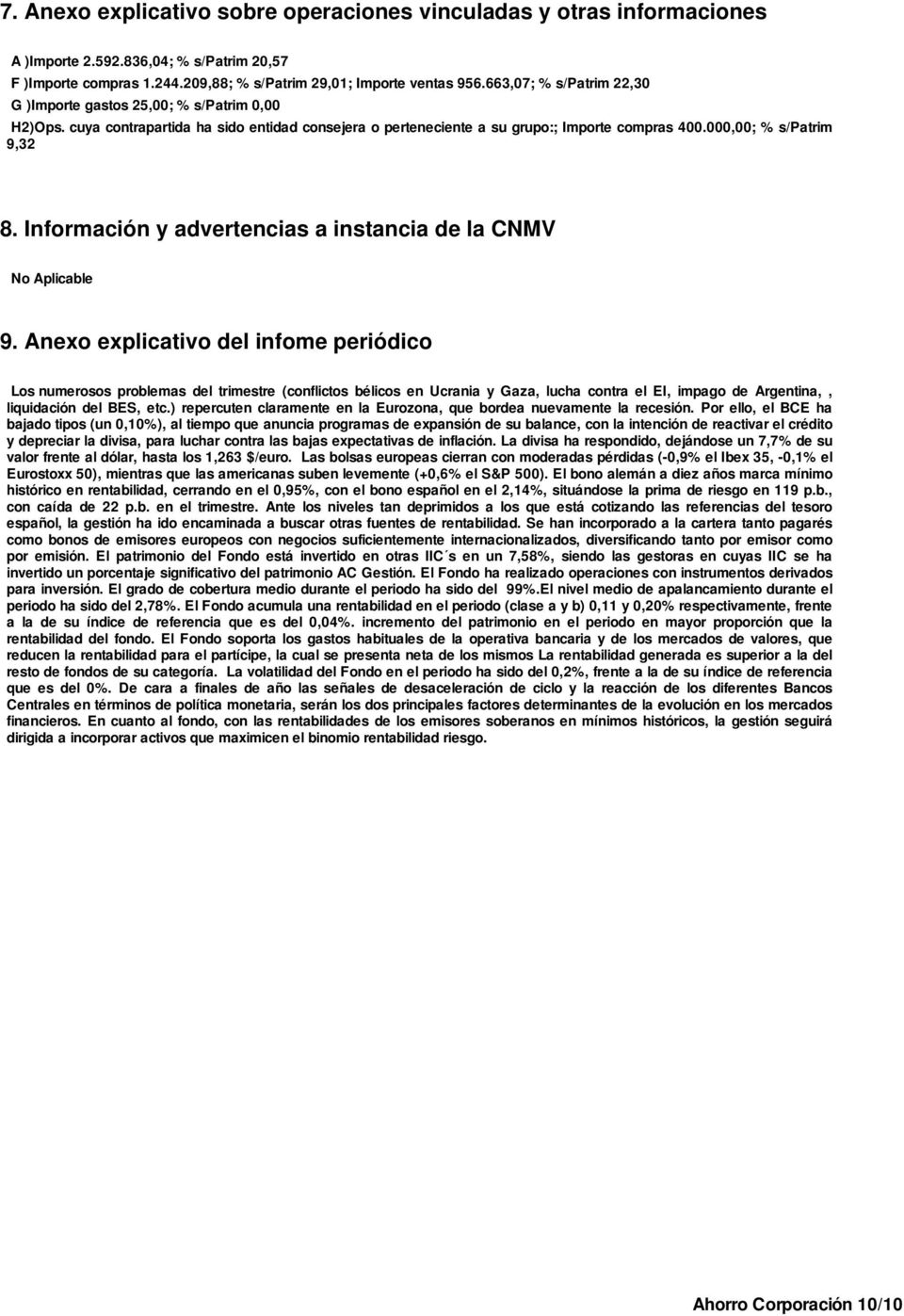 Información y advertencias a instancia de la CNMV No Aplicable 9.