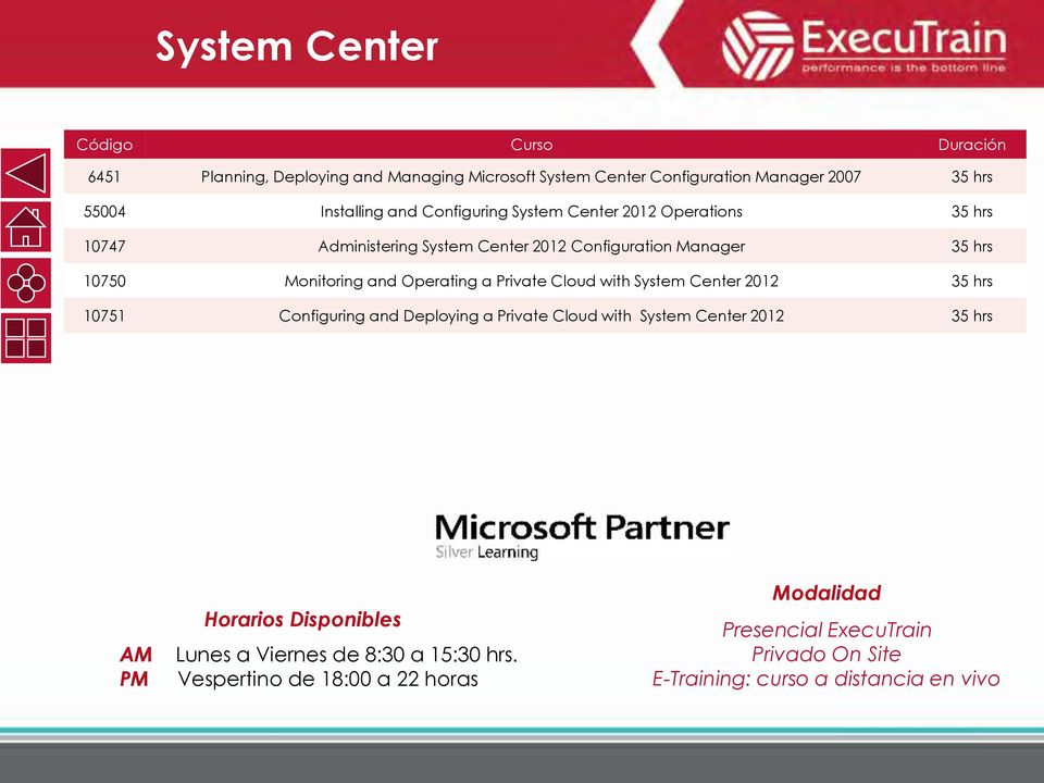 Monitoring and Operating a Private Cloud with System Center 2012 35 hrs 10751 Configuring and Deploying a Private Cloud with