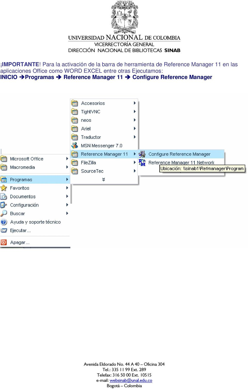 Reference Manager 11 en las aplicaciones Office como