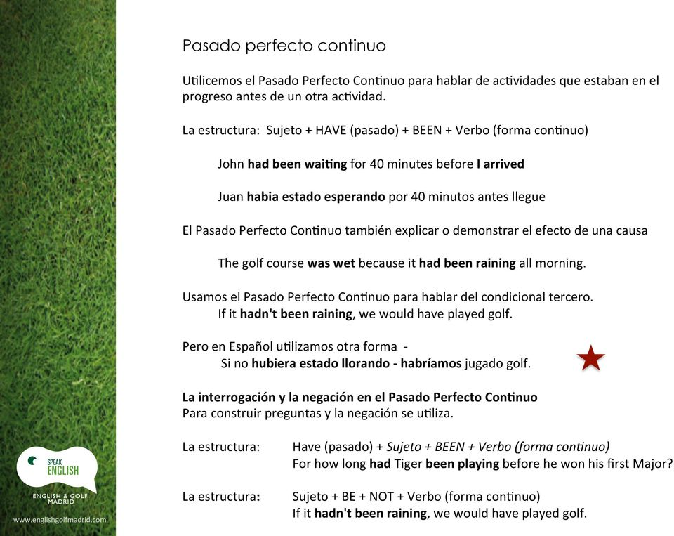 explicar o demonstrar el efecto de una causa The golf course was wet because it had been raining all morning. Usamos el Pasado Perfecto Con6nuo para hablar del condicional tercero.