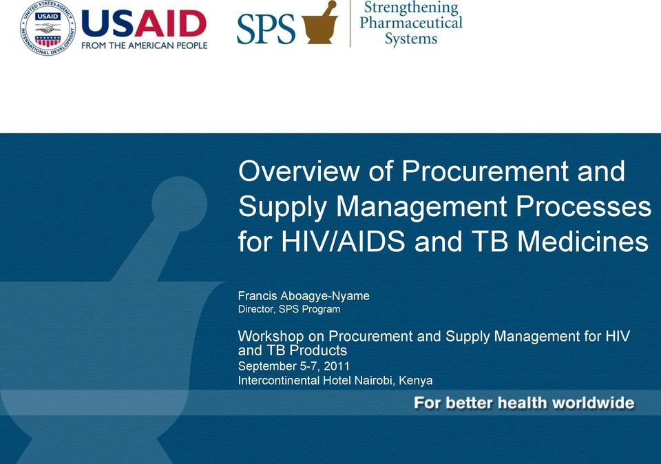 Program Workshop on Procurement and Supply Management for HIV