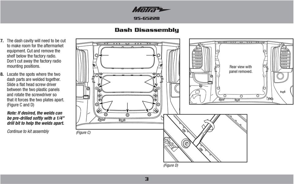 Locate the spots where the two dash parts are welded together.