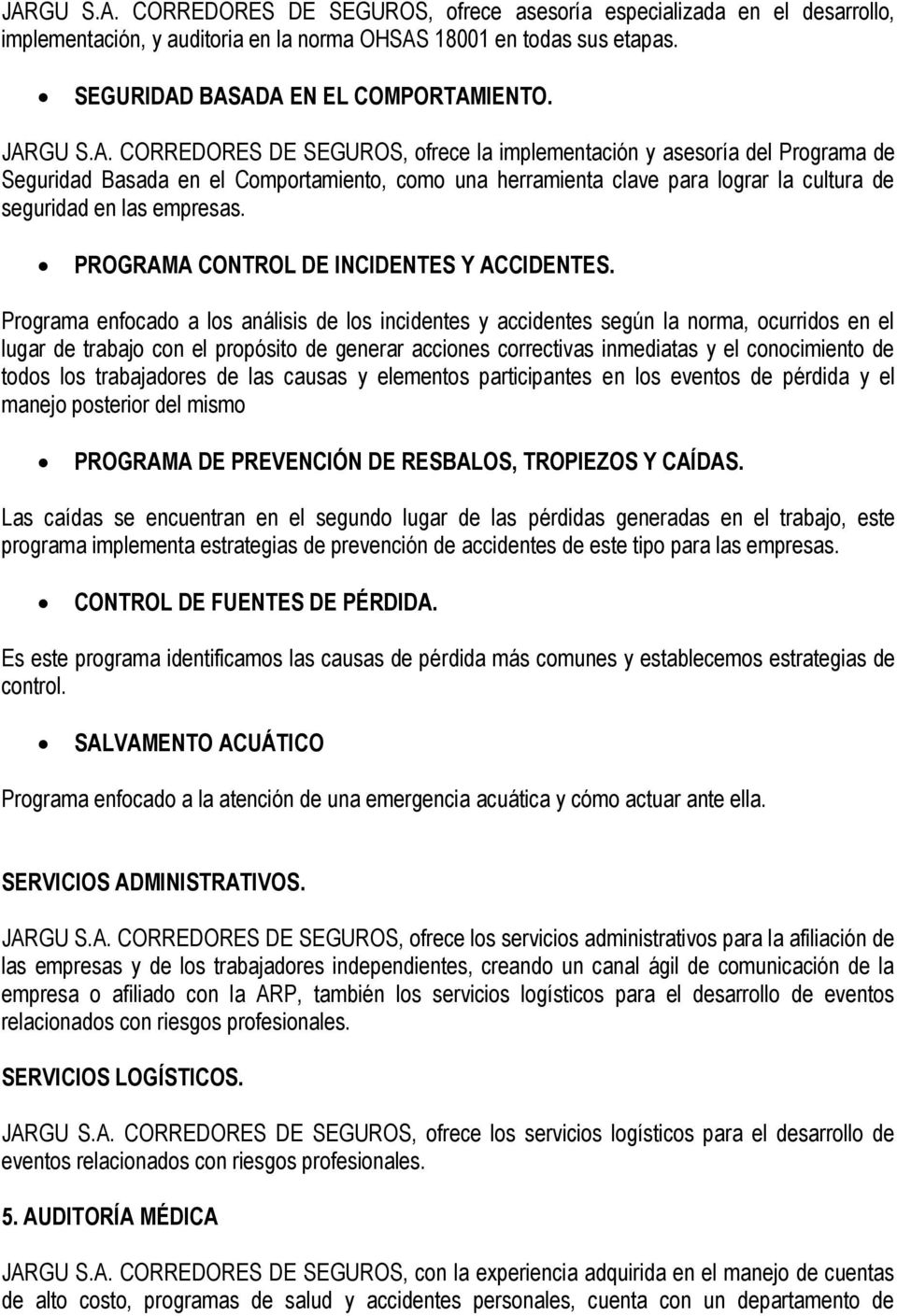 PROGRAMA CONTROL DE INCIDENTES Y ACCIDENTES.