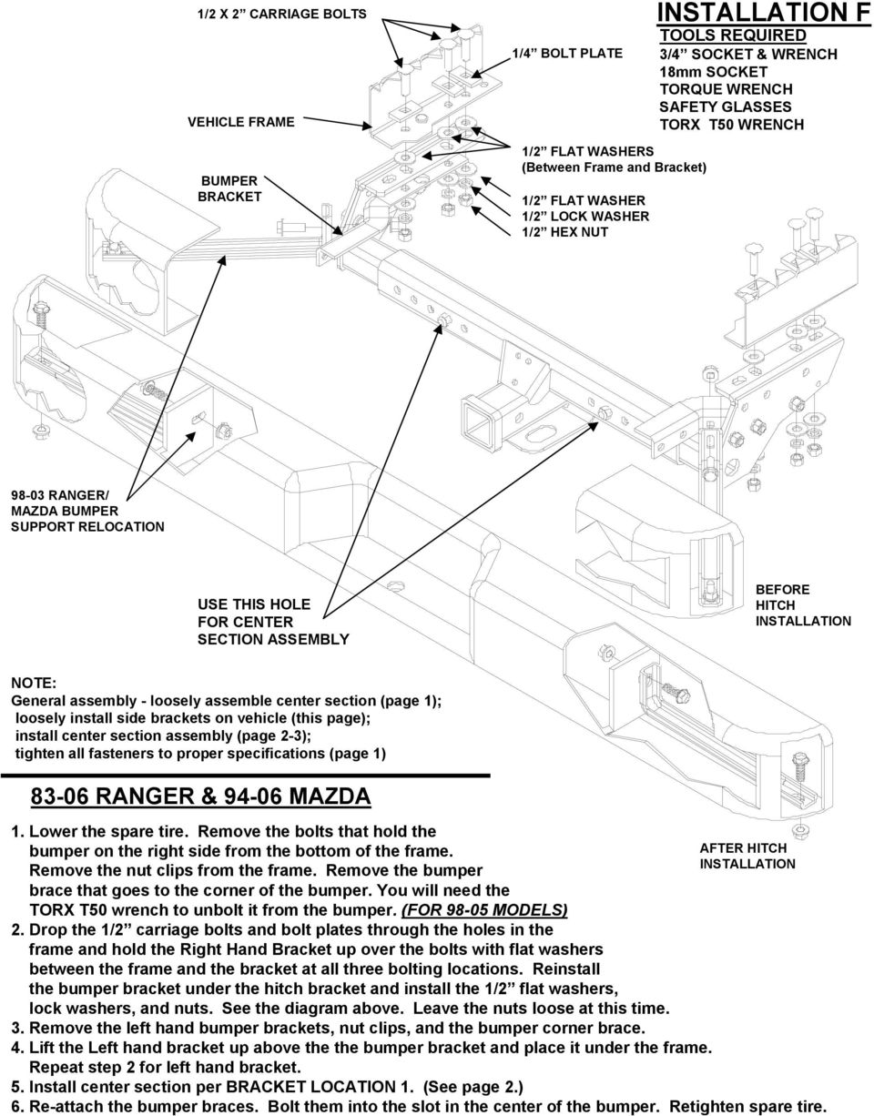 assembly - loosely assemble center section (page 1); loosely install side brackets on vehicle (this page); install center section assembly (page 2-3); tighten all fasteners to proper specifications