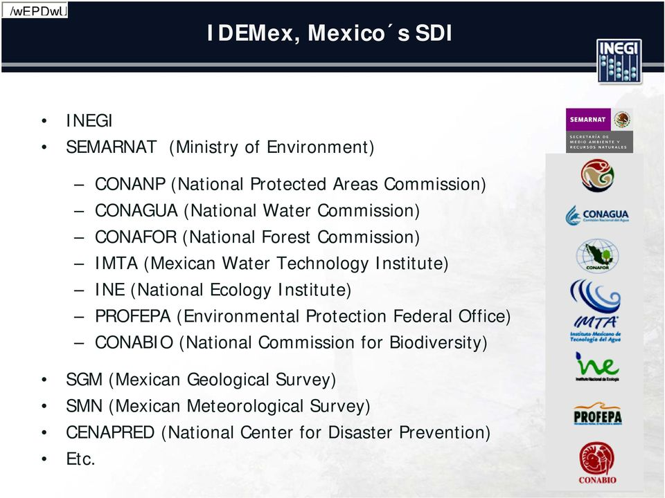 Technology Institute) INE (National Ecology Institute) PROFEPA (Environmental Protection Federal Office) CONABIO (National
