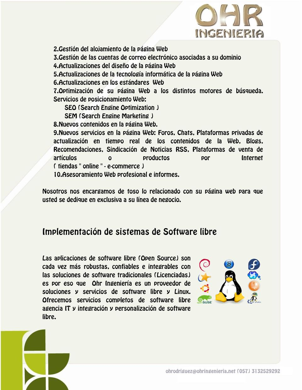 Servicios de posicionamiento Web: SEO (Search Engine Optimization ) SEM (Search Engine Marketing ) 8.Nuevos contenidos en la página Web. 9.
