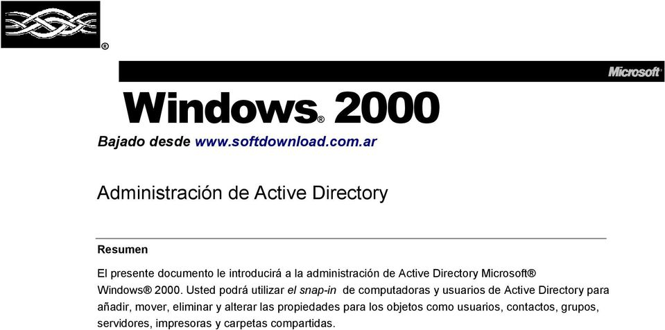Active Directory Microsoft Windows 2000.