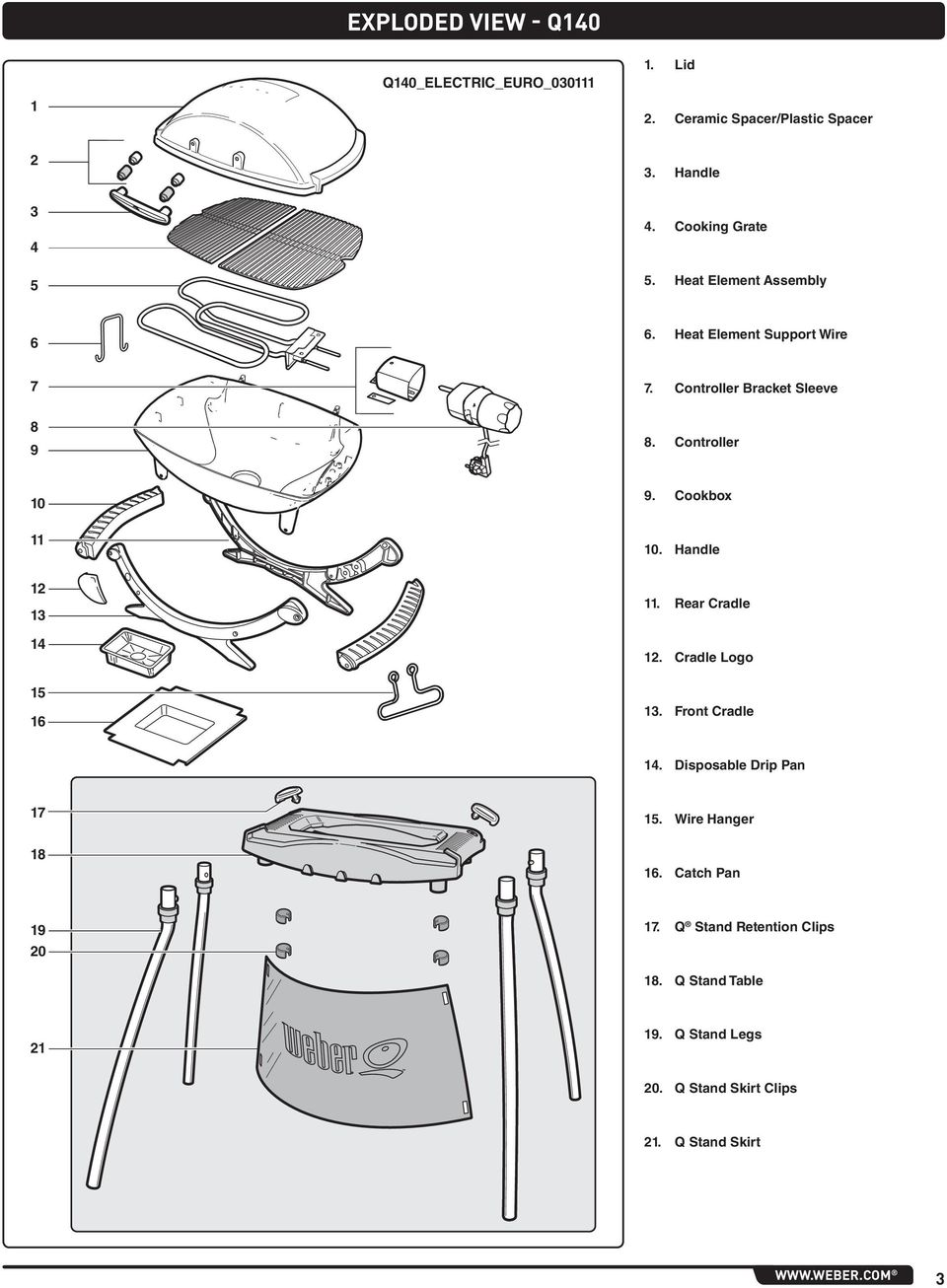 Handle 12 13 14 11. Rear Cradle 12. Cradle Logo 15 16 13. Front Cradle 14. Disposable Drip Pan 17 15. Wire Hanger 18 16.