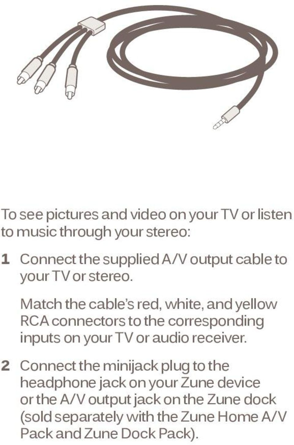 Match the cable s red, white, and yellow RCA connectors to the corresponding inputs on your TV or audio