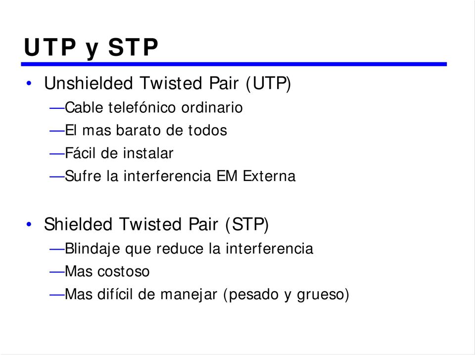 interferencia EM Externa Shielded Twisted Pair (STP) Blindaje