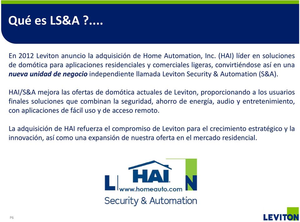 Leviton Security & Automation (S&A).